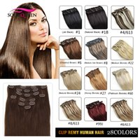 Wholesale Clip In Human Real Hair Extension inch cm G pcs100 Natural Hair Clip In Virgin Remy Human Hair Colors Price