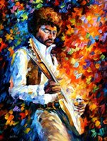 Wholesale Leonid Afremov s Palette knife oil paintings for dining room jimi hendrix II hand painted on linen
