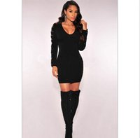 Wholesale NEW WOMANS SEXY BLACK LACE UP CUT OUT LONG SLEEVES BODYCON MINI CLUBE DRESS Brand New Good Quality