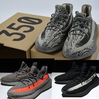 b bags cotton - Top quality SPLY v2 boost kanye west running shoes Glow In The Dark Orang Stripe Grey black Sneakers Keychain Socks Bag Receipt Box