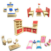 Wholesale New Arrival Total Set Furniture Baby Toys Pieces Of Furniture Combination Game Wooden Toys Child Education Birthday Gift