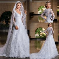 Wholesale 2016 A Line See Through Back Long Sleeve Wedding Dress With Lace Appliques Bridal Gowns Custom Made Custom Made Elegant