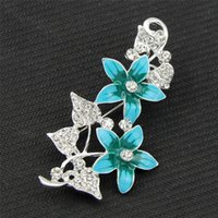accessories colored diamond - Thanksgiving Accessories Fashion Colored Drawing Blue Flower Brooches For Women Wedding Bride Hot Sale Alloy Metal Plant Brooch Pins