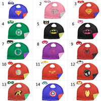 Wholesale L50 cm baby kids Superhero capes cape with mask Double side Satin fabric Spiderman Batman Ironman Super hero capes for kids Cosplay