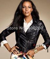 Wholesale Natural Sheepskin Short Motorcycle Women Leather Jacket Black Genuine Leather Jacket Women Ladies Leather Jacket