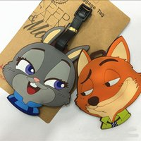 Wholesale Baggage Tag Zootopia Tags Animal Metropolitan Fox Rabbit Cartoon Modelling Identification Plastic Luggage Name Bag Card