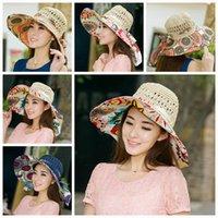 Wholesale 300pcs LJJG184 Foldable Brim Sunhat Women Summer Wide Brim Floppy Hat Straw hats Beach Head Wear Hand Knitting Sunbonnet Topee