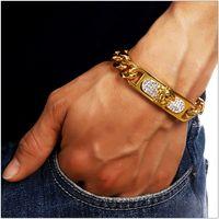 Wholesale Fashion Hip Hop Mens Bracelet Jewelry Studded Austrian Crystal Design Stainless Steel K Gold Plated Link Chunk Chains Punk Rock Rap Men