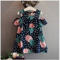 Wholesale 2016 New Summer Girls Polka Dots Pineapple Vest Dress Kids Ruffle Sleeveless Suspender Dresses Children Clothing Cute Baby Girl Skirt