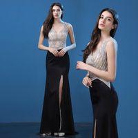 best training collar - Best Selling Mermaid Prom Dresses Black Stain V neck Sweep Train Beaded Split Discount Formal Cocktail Gowns Dress Evening Wear SJ