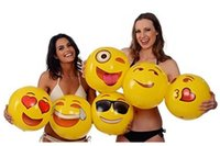 big inflatables - 2016 Newest inches Emoji PVC Inflatable Beach Balls Inflatable Ball Pool Outdoor Play Beach Toys