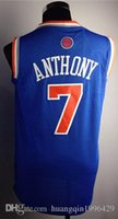 authentic movie costumes - Authentic Carmelo Anthony shirt New White Orange Blue Men s Top Quality Stitched Basketball shirts Mix Order