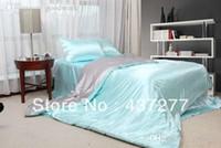 aqua bedrooms - luxurious aqua grey bedroom living room bedding set imitated silk home textile quilt duvet cover bed sheet pillowcase bed