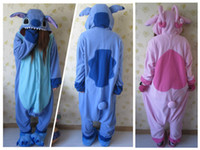 Wholesale Unisex Adult Stitch Pajamas Animal Onesie pink Blue lilo Stitch jumpsuit Pyjamas Cosplay Costume Sleepsuit