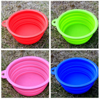 Wholesale 300pcs Pet dog bowl portable folding bowl feeder crative design pet dog cat bowl feeder colorful pet bowl DHL