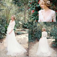 Wholesale 2016 New Elegant V Neck Lace A Line Wedding Dresses Sleeves Tulle Beaded Sash Bridal Gowns MG279