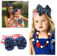 american flag bandanas - 2016 New American Flag Headband th of July Independence Day Knotted Headband with Gair Bow American Flag Hair Accessories K7048