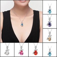 asian formal wear - 7 Colors Angel Tears Swarovski Crystal Pendant Necklaces Wedding Jewelry Unique Formal Prom Party Wear