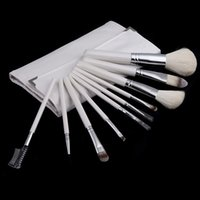 badger hair makeup brushes - Professional Soft Cosmetic Nylon Hair Make up Tools Makeup Brushes Sets Kit with Folding White Case H10542