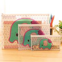 Wholesale lovey cartoon elephant grid transparent pvc file bag pencil case logo can be customized sizes