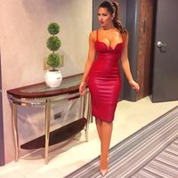 Wholesale 2016 Women summer pu leather dress BUSTIER PENCIL celebrity sexy bodycon party dresse nude pink red black kim kardashian dress