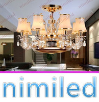 anion lamp - nimi838 Dia H53cm Lights Invisible Rose Gold Zinc Alloy Restaurant Living Room Ceiling Fan Lights Crystal Chandelier Anion Pendant Lamp