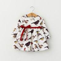 baby bird clothing - Kids Girls Cotton Cartoon Dresses Baby Girl Print Birds Fashion Dress Girl Auutmn Winter Bow Dress Children s Xmas Clothing
