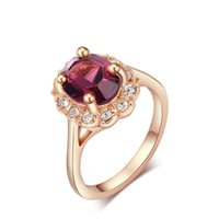 genuine diamond ring - Solitaire Ring Selling models jewelry genuine Austrian crystal jewelry gold plated inlay purple diamond ring