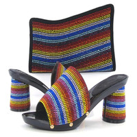 wedding party slippers - HTF Africa Nigeria in women s shoes black color high heeled slippers wooden shoes delivery free of charge shoes and bag set