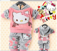 Wholesale Children Clothing baby piece suit set tracksuits Girl s Cartoon clothing sets velvet Sport suits hoody jackets pants XQ