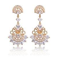 art deco style earrings - Art Deco Vintage Style Clear White CZ Dangle Chandelier Fan Earrings Gold Tone Filigree Work Open Back Exotic Pierced Earrings