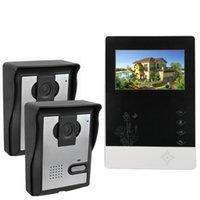 Wholesale 4 quot Color Video Door Phone Doorbell Intercom Kit IR Night Vision Camera Video Intercom Monitor for Home Security F4360A