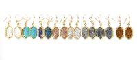 Wholesale Christmas Gift Kendra Style Copper Gold Tone Metal Faux Stone Oval Earrings Resin Druzy Dangle Earrings for Women