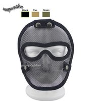 wire mesh fence - Outdoor Airsoft Shooting Face Protection Gear V4 Metal Steel Wire Mesh Full Face Fencing Mask Tactical Airsoft Mask