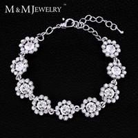 Wholesale M amp MJewelry Romantic Floral Bracelets for Bridal Silver Plated Wide Rhinestone Crystal Bracelets Women Wedding Jewelry MSL207
