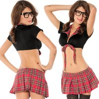 Wholesale 2016 new Maid uniform sexy lingerie hot Deep V babydoll black lace and Plaid erotic lingerie sexy dress cosplay sexy costumes