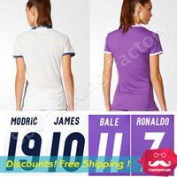 Wholesale Women Ronaldo Camisetas de Futbol Madrid Soccer Jerseys Real Chandal Madrid Women Football Shirt JAMES jersey Women sport shirt
