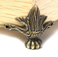 antique brass corners - Antique Brass Jewelry Gift Box Wood Case Decorative Feet Leg Corner Protector