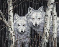 antique wood painting - diamond painting two wolf in woods embroidery needlework cross stitch pattern mosaic painting home decor x40cm HWB