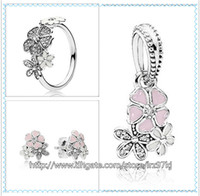 Cheap 925 Sterling Silver Ring & Earrings and Jewelry Charms Pendant Sets with Box Fits European Jewelry Bracelets & Necklaces-Poetic Blooms