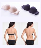 Wholesale MOXIAN Strapless Bra invisible bra wedding dress halter lingerie chest paste cup Transparent straps A B C D cup gather bra