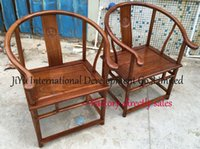 Wholesale round backed armchair chinese style antique furniture living room casual chairs luxury wood chairs in African Red sandalwood