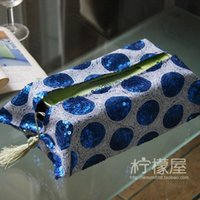 Wholesale The paper use a gift set of European royal blue copper bead sequins paper towel box set of high end car Home Furnishing necessary