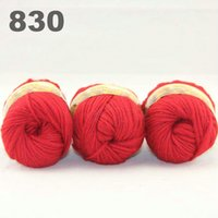 Wholesale colorful hand knitted wool line segment dyed coarse lines fancy knitting hats scarves thick line Red