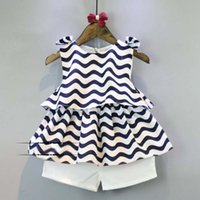 chevron clothing - Fashion Girl Dress Child Clothes Kids Clothing Chevron Summer Tank Tops Kid White Shorts Children Set Kids Suit Outfits Lovekiss C25067