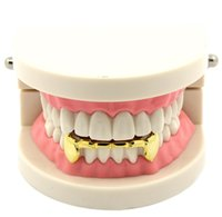 Wholesale Custom Fit k Gold Plated Hip Hop Teeth Fang Grillz Caps Lower Bottom Grill Set