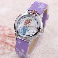 Precio de Gifts-El reloj popular de los cabritos de la historieta de los cabritos congriega los relojes del cuarzo El reloj de cuero de la muñeca Anna Elsa de la corona del Rhinestone del Wristband para el regalo de Gilrs