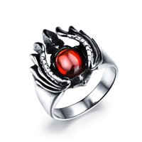 big red rings - 2016 Big Red Cubic Zirconia Man Rings Classical L Stainless Steel New Fashion Men Jewelry High Quality GJ489