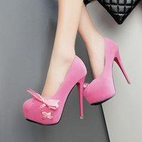 Pompes printemps noeud adorable daim rose plateforme haut talon taille femme partie chaussures de bal 12cm 34 à 39