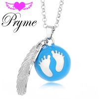 bell chimes - Pryme Cute Foot Ball DIY Wing Jewelry Lucky mm Engelsrufer Eco friendly Copper Chime Cage Sound Bell Pendant Angel Bola Necklaces L082